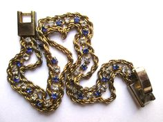 Vintage Delicate Chain Bracelet Tiny Sapphire Blue & Clear Claw Set Rhinestones Gold Tone Foldover Clasp by eKatJewels on Etsy