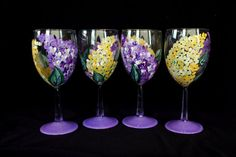 Lilac Wine Glass Hand Painted Set of 4 by Brusheswithaview on Etsy, $56.00