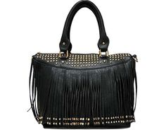 BLACK TASSEL HANDBAG WITH STUD EMBELLISHMENT AND LONG SHOULDER STRAP £23.99