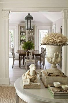 classic french provincial dining room with beige colour palette