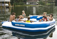 Mega Island 8 Person Inflatable Party Raft Speaker Music - person Inflatable Lake Float w/ Sun Deck, Detachable Boarding Platform, 3 Heavy Duty Multi Use Anchor Attachment Points, 4 Boarding Handles 4 Speaker Waterproof MP3 Storage Console System w/MP3 Cord and Adapter(simply plug into your MP3's earphone jack) Extra Heavy Gauge PVC construction(Mega...