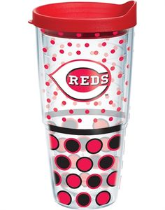 MLB® | Cincinnati Reds | Polka Dot Wrap with Lid | Tumblers, Mugs, Cups | Tervis