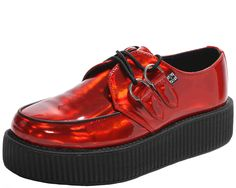 We are totally channeling DEVO right now and you can too with these red, iridescent, patent PU creepers! Whip them right on and be the coolest creeper wearer around! These shoes are vegan friendly, be