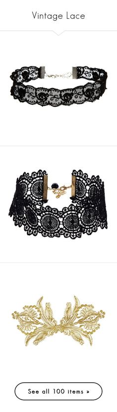 """Vintage Lace"" by jewelsinthecrown ❤ liked on Polyvore featuring jewelry, necklaces, accessories, chokers, black, choker jewelry, lace necklace, adjustable necklace, asos necklace and floral jewelry"