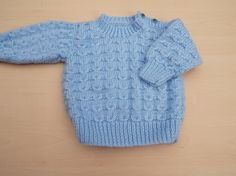 Baby boy jumper hand knitted in blue with elephant buttons 0-3 months £10.00
