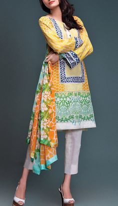 Buy Yellow Embroidered Cotton Lawn Dress by Rungrez Lawn Collection 2015.