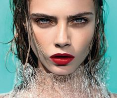 #glamour - beautiful flawless face - red lips - minimal eye makeup