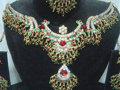 India Jewelry Kundan Bridal Diamante CZ Necklace Set 4Pcs