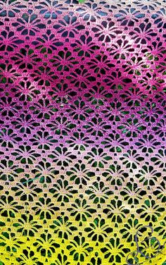 "Gratis - Gehäkeltes Schultertuch ""Fruity 'o' Tutty"" - Schachenmayr & Scheepjes Whirl - Häkeln / crochet - Hakeln Crochet Motif Patterns, Crochet Diagram, Crochet Instructions, Crochet Scarves, Crochet Shawl, Crocheted Scarf, Crochet Diy, Crochet Triangle, Knitting For Beginners"