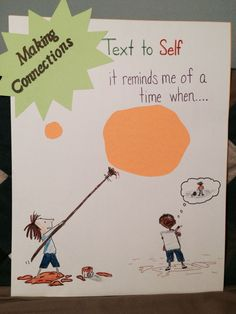 Comprehension Strategy anchor chart (Text to Self) for the book The Dot by Peter Reynolds.