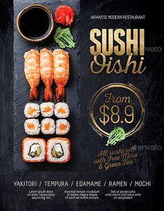 Buy Japanese Sushi Flyer / Poster Template by tunagaga on GraphicRiver. Commercial sale flyer / poster template suited for Sushi, Japanese cuisine restaurant… size poster template, . Food Graphic Design, Food Menu Design, Food Poster Design, Restaurant Poster, Restaurant Menu Design, Japanese Restaurant Menu, Sushi Menu, Restaurant Specials, Menu Flyer