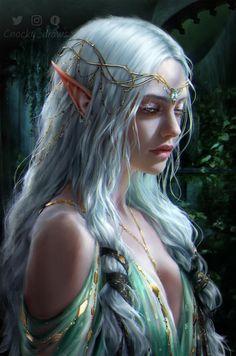 [ART] - Moon elf Princess - Art by Cnocky_draws - DungeonsAndDragons Arte Digital Fantasy, Fantasy Kunst, Gothic Fantasy Art, Final Fantasy Art, Beautiful Fantasy Art, Fantasy Women, Medieval Fantasy, Fantasy Girl, Fantasy Artwork