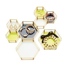 Three by Three beehive Glass & Metal Jewelry Trays | The Container Store