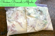 Freezer Meals – Chicken Broccoli Alfredo