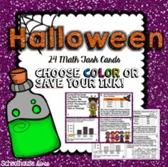 Halloween Math Task Cards in color AND ink-saver styles!  $