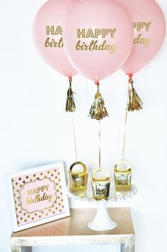 Birthday Balloons printed in metallic gold Happy Birthday are perfect for pink and gold theme birthday parties. Use these Birthday Balloons for a Candy Buffet Decor or to mark the entrance of your event. They make a great photo prop too! Available in 5 Color options. ***DETAILS*** Set of