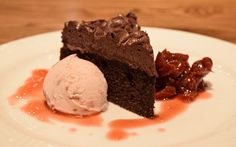 Amaretto Chocolate Cake with tart cherry-amaretto compote and housemade cherry-vanilla ice cream | Green valley grill | Greensboro, NC