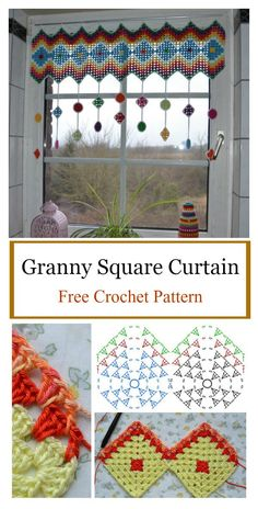 pattern Do your windows look a little bare? Perhaps a crochet window treatment will help. The Granny Square Curtain Free Crochet Pattern will make the perfect curtains to instantly beautify y Crochet Curtain Pattern, Crochet Rug Patterns, Crochet Curtains, Curtain Patterns, Crochet Motifs, Crochet Squares, Crochet Doilies, Crochet Flowers, Knitting Patterns