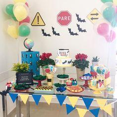 Detetives do Prédio Azul! Caso de hoje: aniversário da Manu e do Teo.  #DPA #detetives #predioazul #festaDPA #decoraçãodpa #festasexclusivas #festademeninoemenina #kidsparty #kikidsparty #festinhaminha