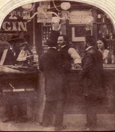 https://flic.kr/p/6dy1xa | Bar interior, monkey on counter? 1870's