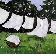 Impressionist CLOTHESLINE LAUNDRY Plein Air by lynnefrenchdesigns