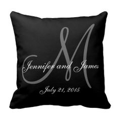 Black White Monogram Names Wedding Keepsake Pillow, comes in various colors too