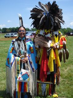 Señor Tucker is a descendant of Sparrowhawk and Sarah Persinger. He is very active in Native American events and did all the beading on his regalia and the dress worn here by Joann Jumping Elk Steel an enrolled member of the Cheyenne River Sioux tribe in South Dakota.