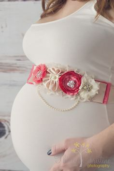 New style! Beautiful Watermelon-Coral maternity sash. This sash includes a combination of four (4) handmade coral and ivory/gold flowers.