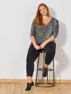 95c51de72f43 Jeans skinny strisce laterali GRIGIO Taglie forti donna- Kiabi