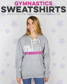 Gymnasts will love the Eat. design on this hooded gymnastics sweatshirt with a athletic cut that's an ideal gift for the colder months. Gymnastics Coaching, Gymnastics Gifts, Gymnastics Outfits, Lace Sweatshirt, Graphic Sweatshirt, Gymnasts, Eat Sleep, Hoodies, Sweatshirts