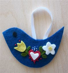 Felt Nordic Bird Ornament by CampStudios on Etsy