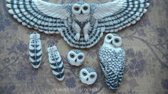 "Porcelain ""Wee Snowy Owl Faces"" by Laura Mears"