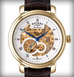 Buy Rotary Gents gold-plated case watch with brown leather strap | From the range of striking new Les Originales Jura watches from Rotary, featuring skeleton dials and Rotary's first Swiss-Made proprietary movement