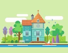 Summer garden landscapes, objects and icon set. Vector flat illustration