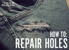 The Homestead Survival | How to Repair a Hole in a Pair of  Blue Jeans   - sewing-  | http://thehomesteadsurvival.com