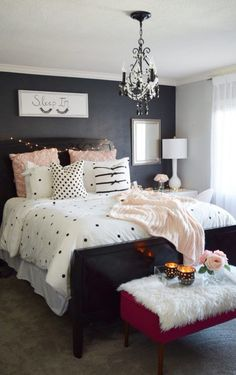 Blush, black and white! A classic and on-trend combination! Create a plush and cozy bed for yourself with essentials from HomeGoods. Sponsored Pin. #bedding