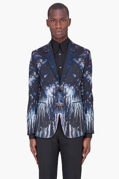 Alexander McQueen Petrol Feather Print Blazer for men   SSENSE