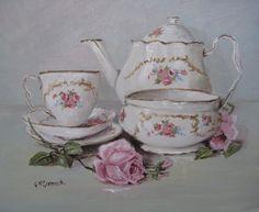 Original Painting on Canvas - China Tea Set - Postage is included Australia Wide