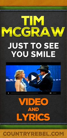 Tim McGraw Songs - Just To See You Smile Lyrics and Country Music Video. Their faces! Country Music Videos, Best Country Music, Country Music Quotes, Country Music Lyrics, Country Music Artists, Country Songs, Smile Lyrics, Song Lyrics, Music Songs