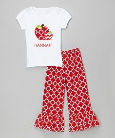 Look what I found on #zulily! White Apple Personalized Tee & Pants - Infant, Toddler & Girls #zulilyfinds