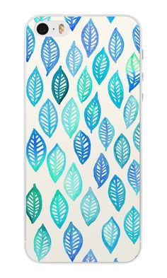 iPhone SE Case - Watercolor Leaf Pattern in Blue & Turquoise by micklyn