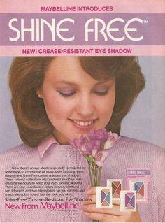 Vintage 80s advertisement | 1984 Maybelline Shine Free Eye Shadow Ad