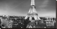 The Eiffel Tower and surrounding Buildings Stretched Canvas Print by Paul Hardy at Art.com