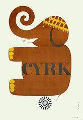 Elephant sitting on ball, 1966 Polish Cyrk Poster