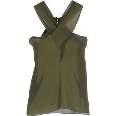 Spago Donna Top ($24) ❤ liked on Polyvore featuring tops, military green, green top, olive top, v neck sleeveless top, sleeveless tops and v neck tops