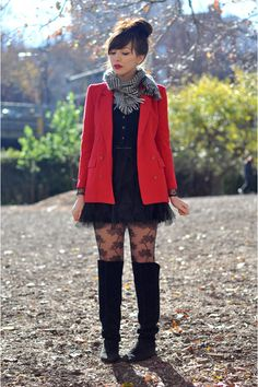 """Black Vintage Boots, Ruby Red Vintage Blazers, Black Accessorize Tights   """"She's got red lipstick : Chic City Girl"""" by Keiko_Lynn"""