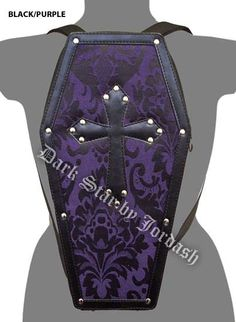 Dark Star - LeatherLook Coffin Backpack w/ Brocade Panel -Purple