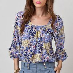 Kasey Blouse Yellow Blue, $114, now featured on Fab.