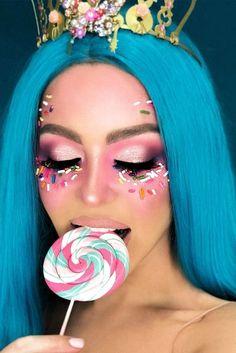 Cool Makeup Looks, Creative Makeup Looks, Unique Makeup, Simple Makeup, Girl Halloween Makeup, Women Halloween, Halloween Halloween, Halloween Costumes, Scary Makeup