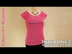 Lace summer top - pink camellia blouse crochet pattern - YouTube